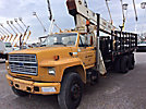 Versalift VO255RV, Over-Center Bucket Truck, mounted behind cab on, 2002 Ford F750 Chipper Dump Truck