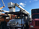 Versalift VO260REV-01, Over-Center Bucket Truck, mounted behind cab on, 2008 Ford F750 Chipper Dump Truck