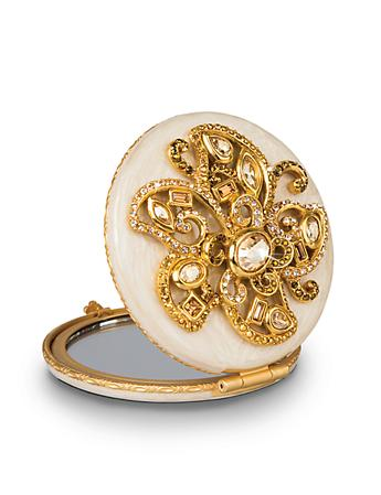 Elizabeth Flower Jeweled Compact - Golden