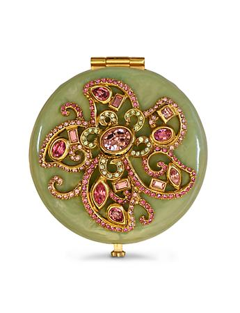 Elizabeth Flower Jeweled Compact - Rose Celadon