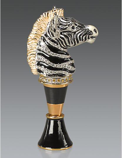 Grayson Zebra Wine Stopper & Stand - Black Onyx