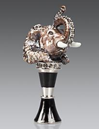 Emmet Elephant Wine Stopper & Stand - Amber