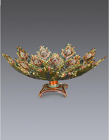 Hera Peacock Feather Bowl - Jewel
