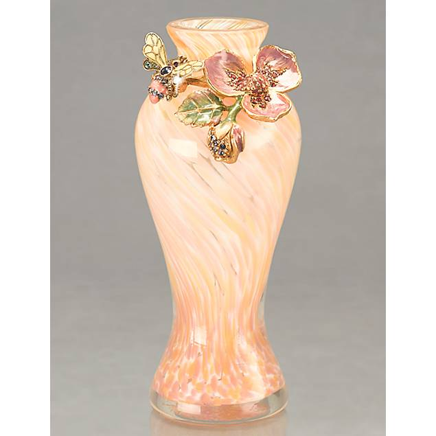 Ola Dogwood Flower/Bee Mini Vase - Rose Celadon