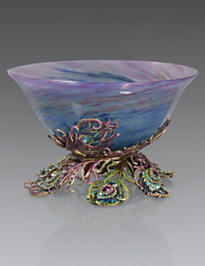 Charlotte Peacock Feather Glass Bowl - Peacock