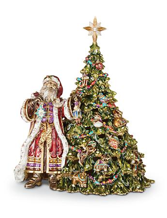 St. Nicholas Santa with Tree Music Box - Jewel