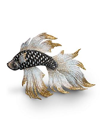 Namoko Fighting Fish Figurine - Jet Crystal