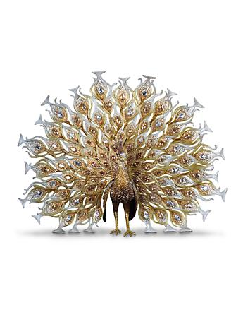 Stanton Fan Tail Peacock Figurine - Gold