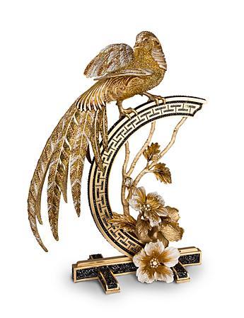 Amadine Golden Pheasant Figurine - Jet Crystal