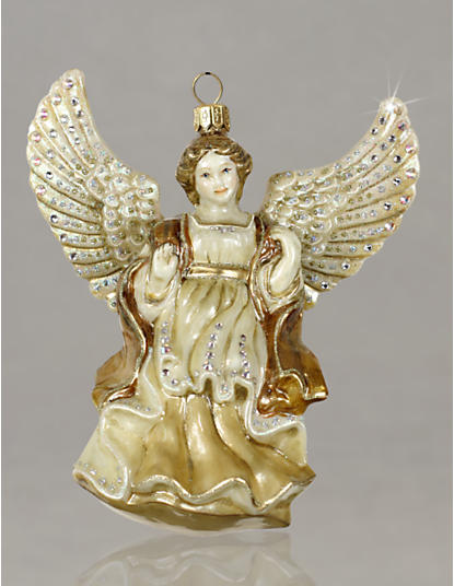 Angel Glass Ornament - Golden