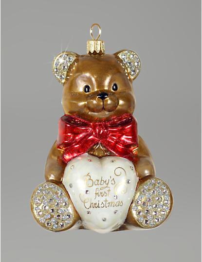 Baby's 1st Christmas Bear Glass Ornament -Jewel