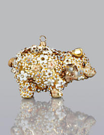 Blossom Pig Glass Ornament - Golden