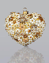 Blossom Heart Glass Ornament - Golden
