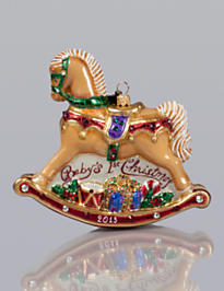 Baby's 1st Rocking Horse Glass Ornament - Jewel