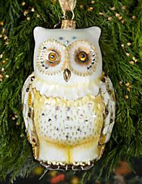 Owl Glass Ornament - Golden
