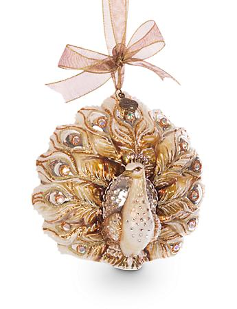 Fantail Peacock Glass Ornament - Golden