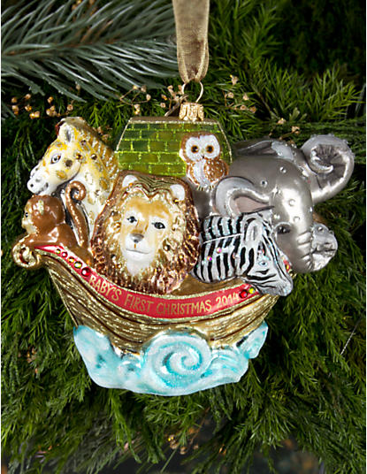 Baby's 1st/Noah's Ark Glass Ornament - Jewel