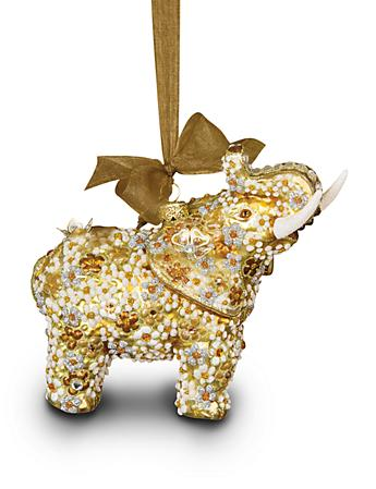 Mille Fiori Elephant Glass Ornament - Golden