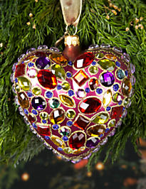 Bejeweled Heart Glass Ornament - Siam