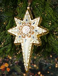 Star of Bethlehem Glass Ornament - Golden