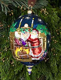 Santa with Chimney Oval Glass Ornament - Jewel