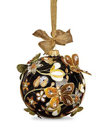 "Floral Artisan 4"" Ornament - Jet Crystal"
