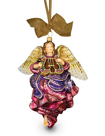 Angel with Lyre Glass Ornament - Jewel