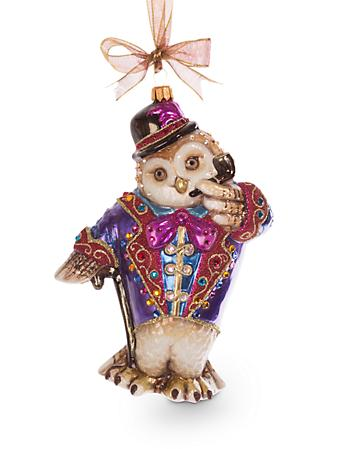 Jubilee Owl Glass Ornament - Jewel