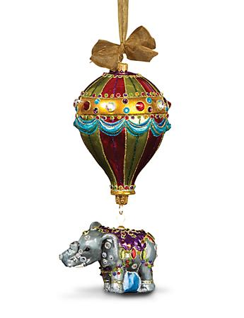 Balloon with Elephant Glass Ornament - Jewel