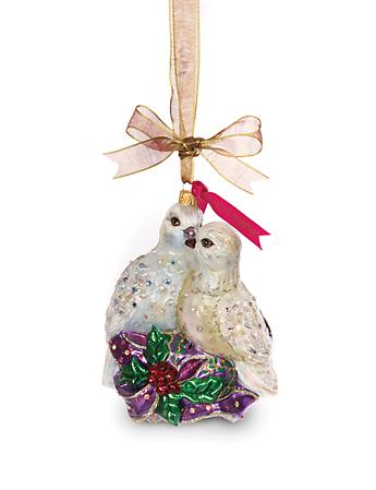 Two Turtle Doves Glass Ornament - Jewel