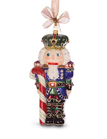 Candy Cane Nutcracker Glass Ornament - Jewel