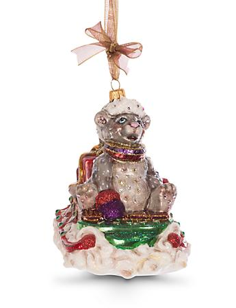 Mouse on Sled Glass Ornament - Jewel