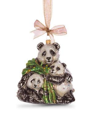 Mother & Baby Panda Glass Ornament - Natural