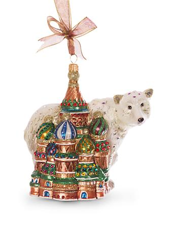 Palace & Polar Bear Glass Ornament - Jewel