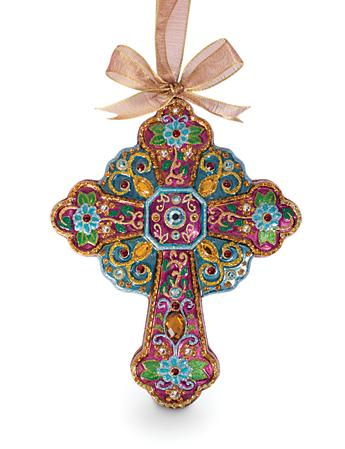 Jeweled Cross Glass Ornament - Jewel