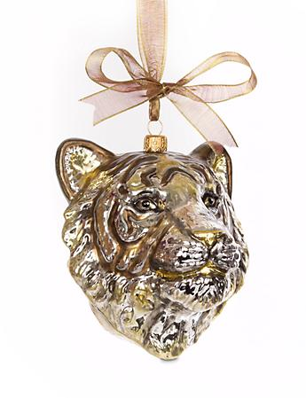 Gilded Tiger Head Glass Ornament - Gold