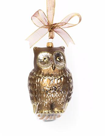 Gilded Owl Glass Ornament - Gold
