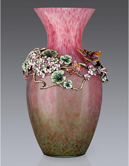 Elouise Floral Cluster Grand Vase -Rose Celadon