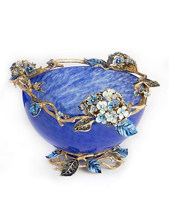 Sophie Hydrangea Glass Bowl - Delft Garden