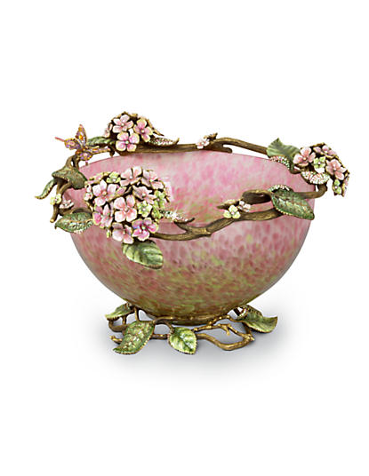 Sophie Hydrangea Glass Bowl - Rose Celadon