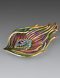 Antonia Peacock Feather Tray - Peacock
