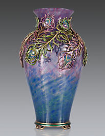 Simone Peacock Feather Grand Vase - Peacock