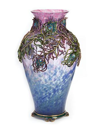 Simone Peacock Feather Grand Vase - Peacock