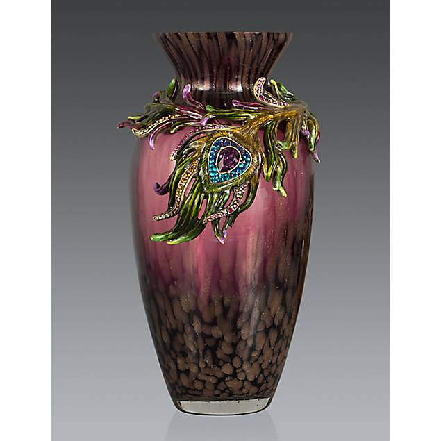 Alina Peacock Feather Vase - Peacock