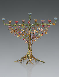 Solomon Floral & Vine Menorah - Jewel