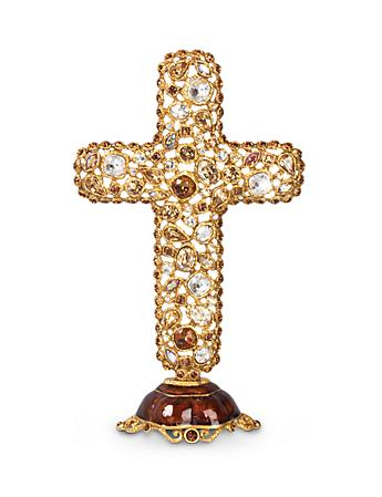 Theresa Bejeweled Cross Objet - Golden