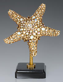 Bennett Starfish Objet with Marble Base - Golden