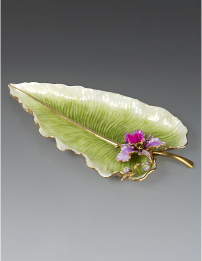 Brock Leaf & Orchid Tray with Stand - Flora
