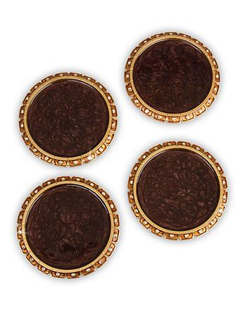 Bentley Jeweled Edge Coasters - Set of 4 - Amber