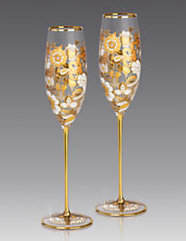 Isabelle Floral Vine Champagne Glasses - Set of 2